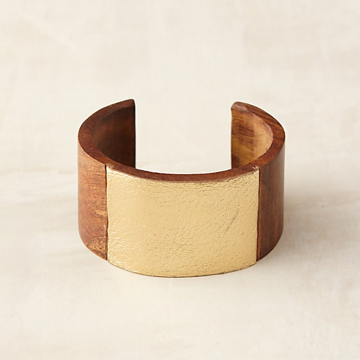 Polished Wood & Leather Cuff