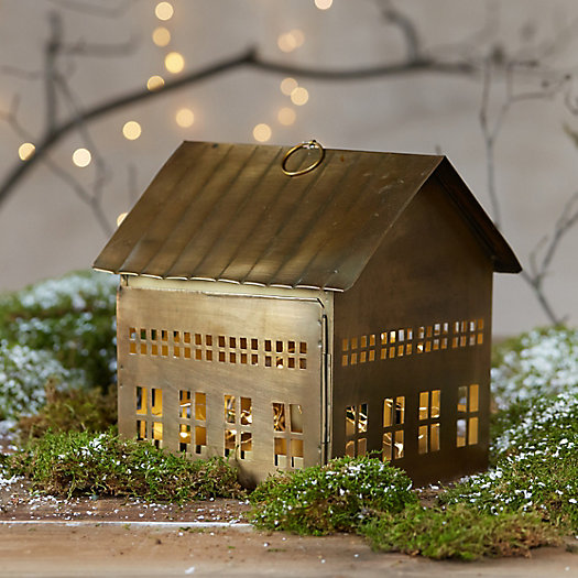 Metal house lantern medium in sale holiday at terrain - Petite maison de noel decoration ...