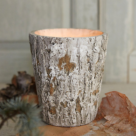Linnea's Lights Cast Wood Candle, Silver Birch