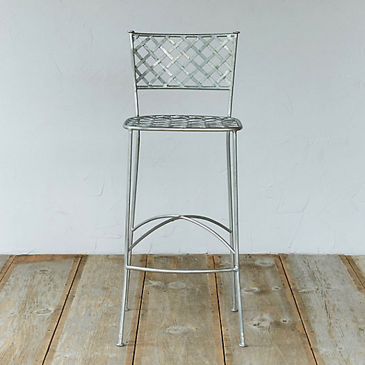 Zinc Lattice Back Bar Stool