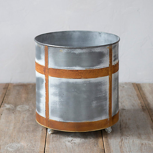 Galvanized Rolling Tub Planter