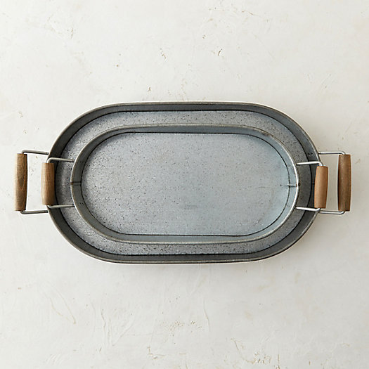 Wooden Handle Zinc Tray
