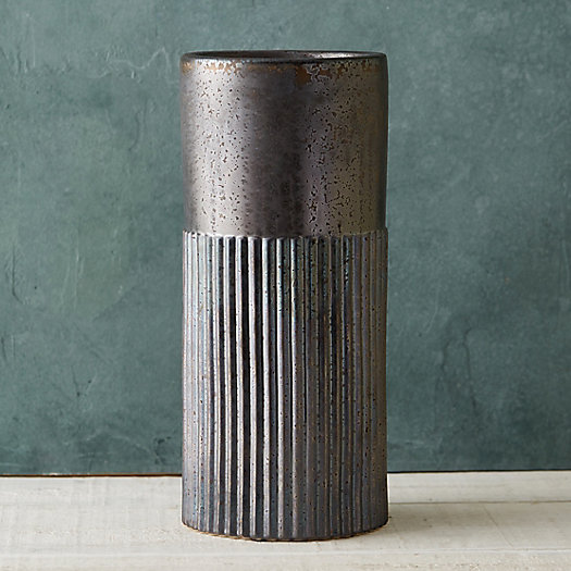 Clay Stripe Column Planter