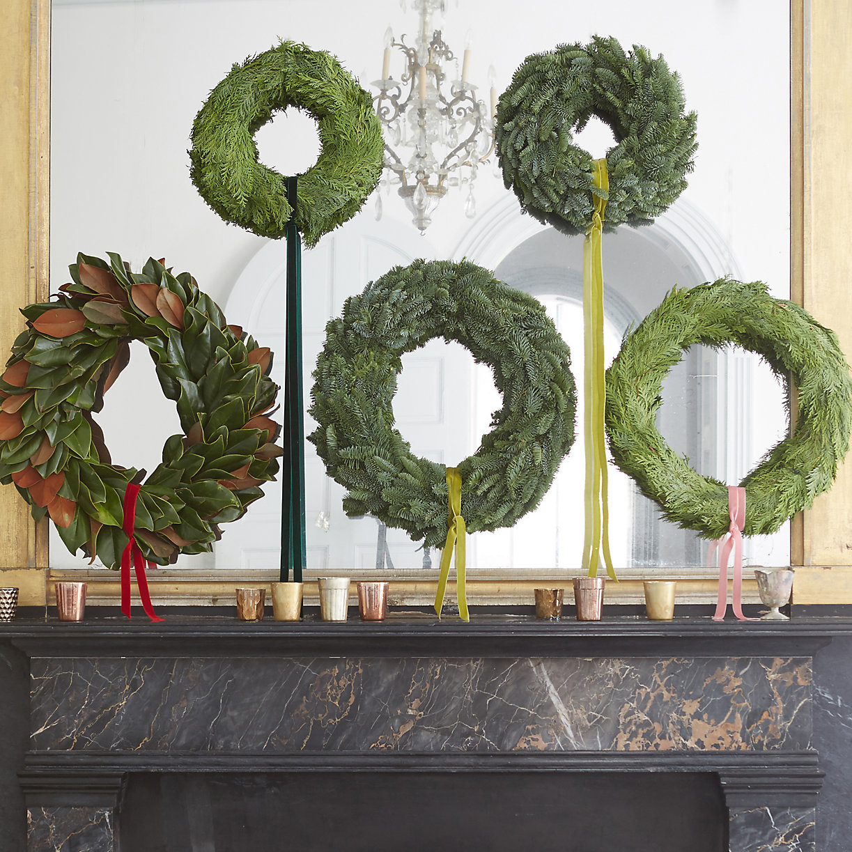 Love this display of five different wreaths