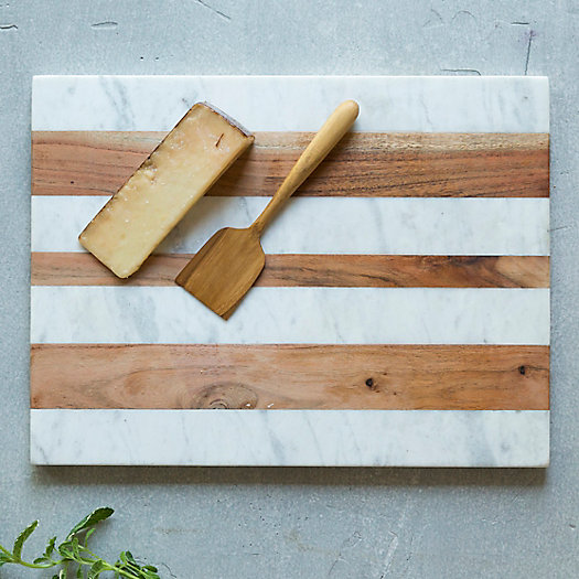Marble & Wood Rectangle Serving Board