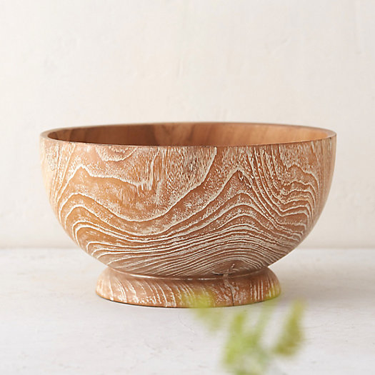 Whitewashed Teak Serving Bowl