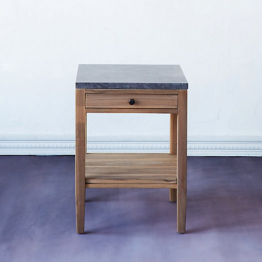 Marble & Teak Side Table