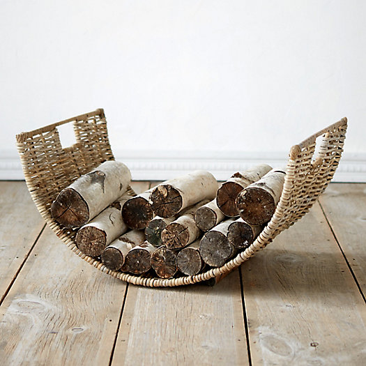 Half Moon Wicker Log Basket
