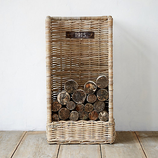 Rolling Wicker Log Basket