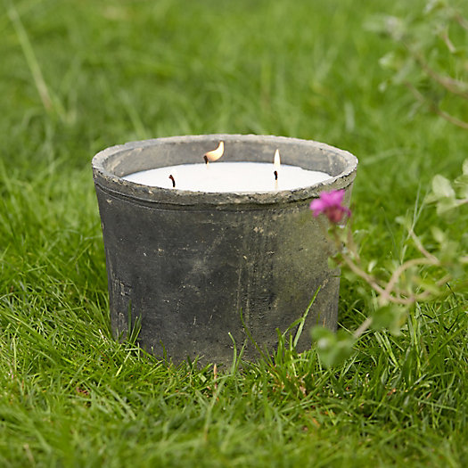 Bamboo Citronella Candle, Large Earth Fired Pot