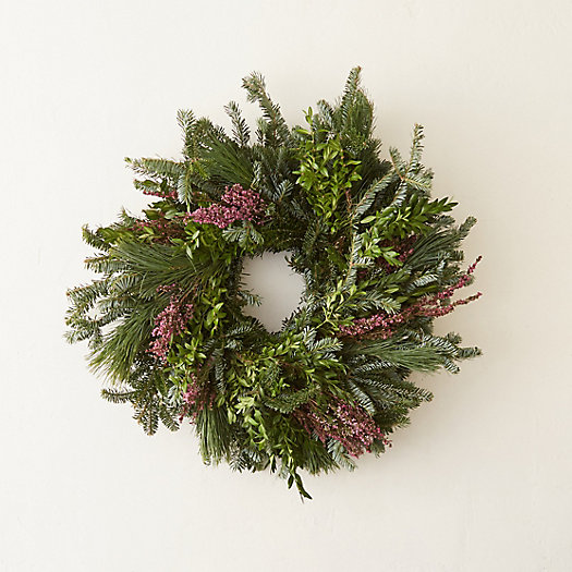 Fresh Evergreen & Heather Wreath