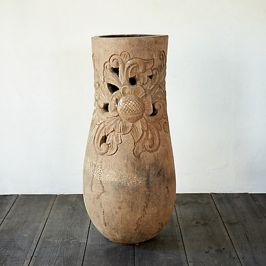 Carved Palm Column Planter