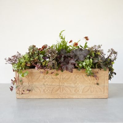Carved Teak Floral Trough