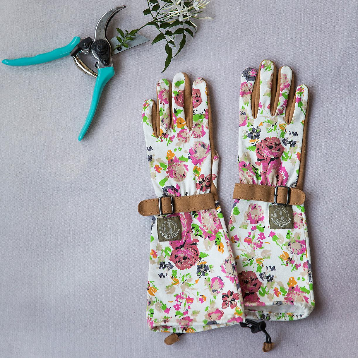 floral twill garden gloves