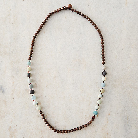 Amazonite & Sandalwood Beaded Necklace