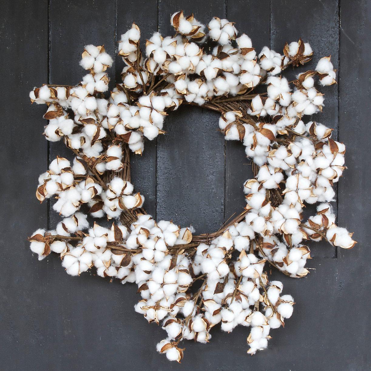 Cotton Wreath Front Door Wreaths Terrain