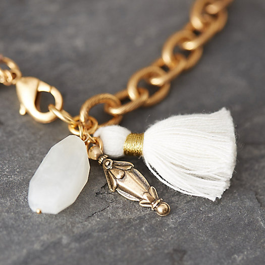 White Quartz & Brass Wrap Bracelet