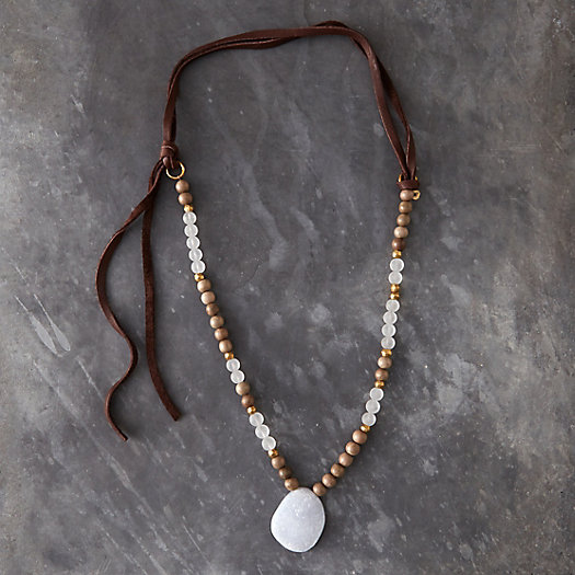 Knotted Leather & Chalcedony Necklace
