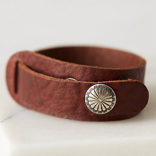 Distressed Leather Snap Cuff