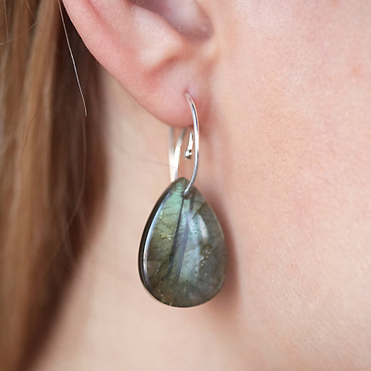 Labradorite Spiral Drop Earrings
