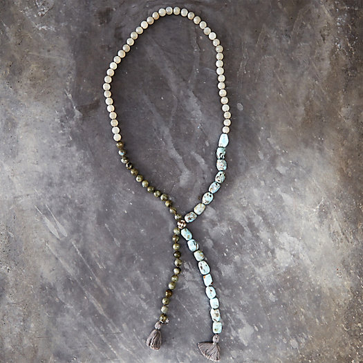 Antique Silver & Labradorite Knot Necklace