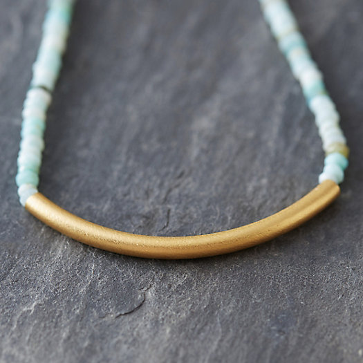 Opal & Gold Bar Necklace