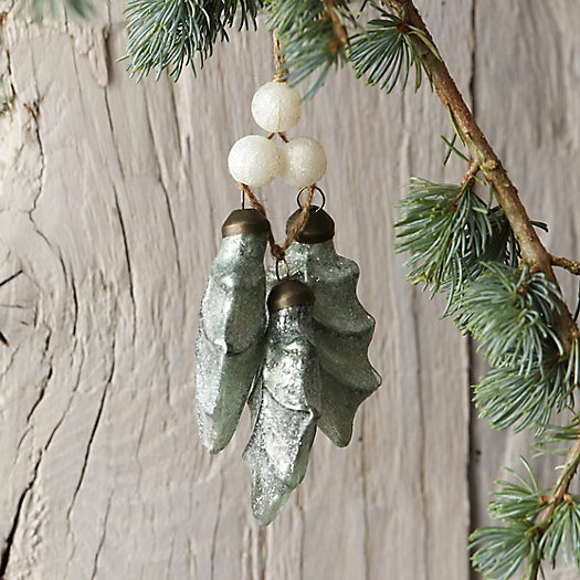 Glass Holly Leaves Ornament