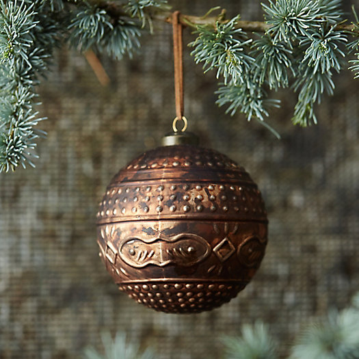 Patterned Bronze Globe Ornament