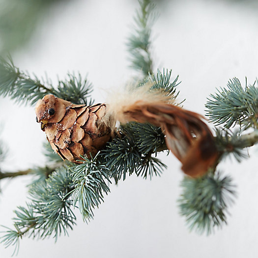 Pine & Feather Bird Clip Ornament