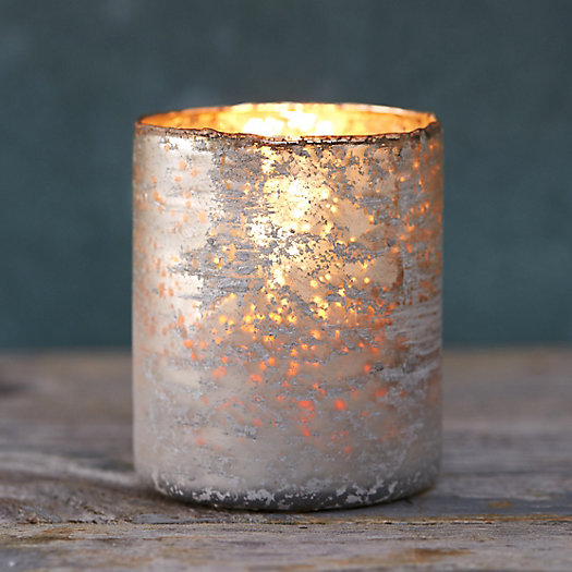 Sanded Mercury Cylinder Votive Holder