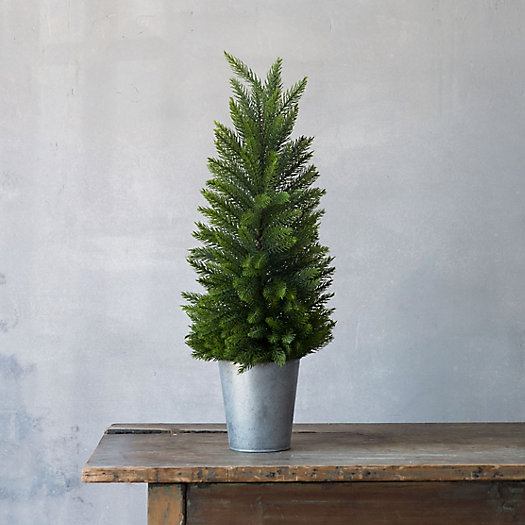Faux Fir Tree, Zinc Pot
