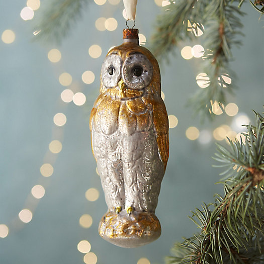 Winter Owl Glass Ornament