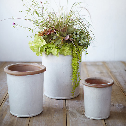 Glazed Stoneware Tall Taper Pot