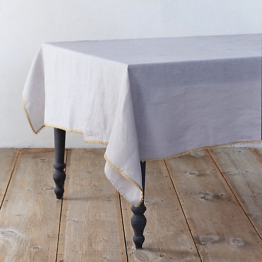 Metallic Crochet Edge Tablecloth