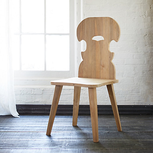 Carved Teak Folk Dining Chair, Maja