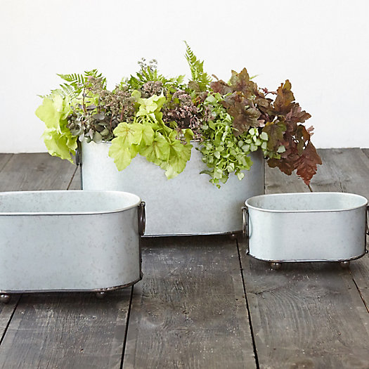 Footed Steel Tub Planter