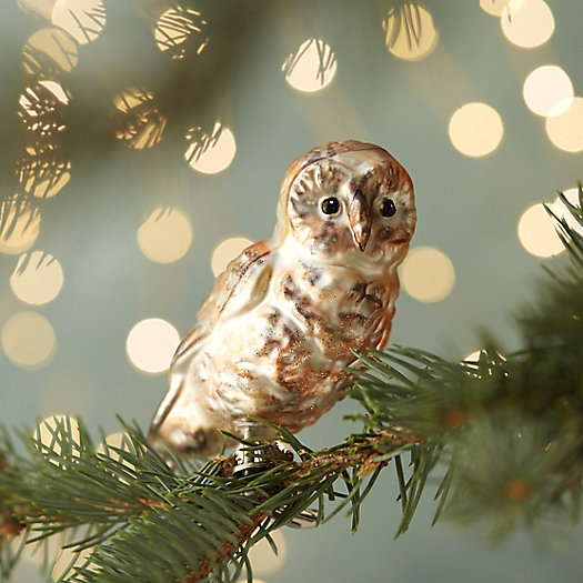 Perching Owl Glass Clip Ornament