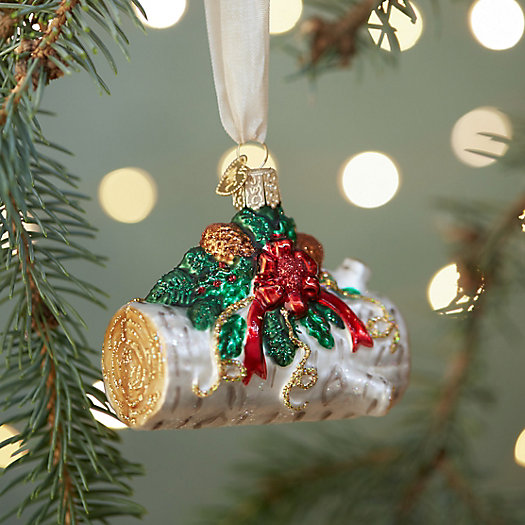Yule Log Glass Ornament