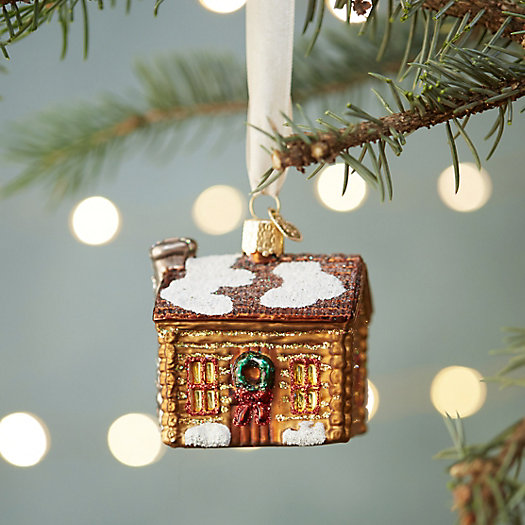 Log Cabin Glass Ornament