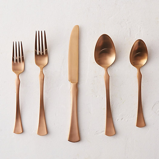 Five Piece Copper Flatware Set