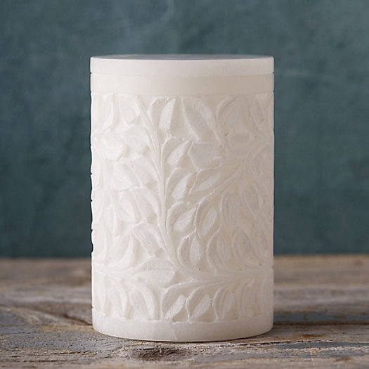 Carved Alabaster Storage Canister