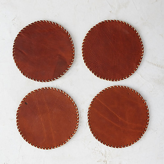 Stitched Leather Coasters, Set of 4