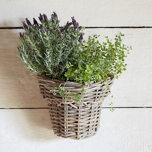 Rattan Flower Baskets : Woven rattan hanging flower basket terrain