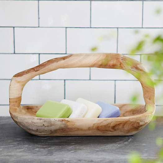 Carved Teak Bath Caddy