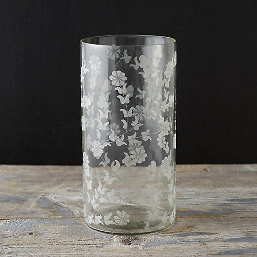 Etched Garden Glass Cylinder