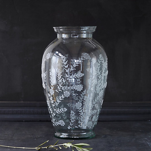 Etched Garden Glass Urn