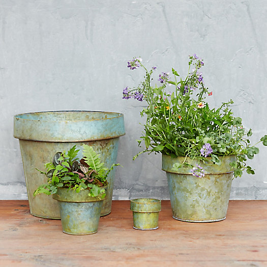 Verdigris Flower Pot