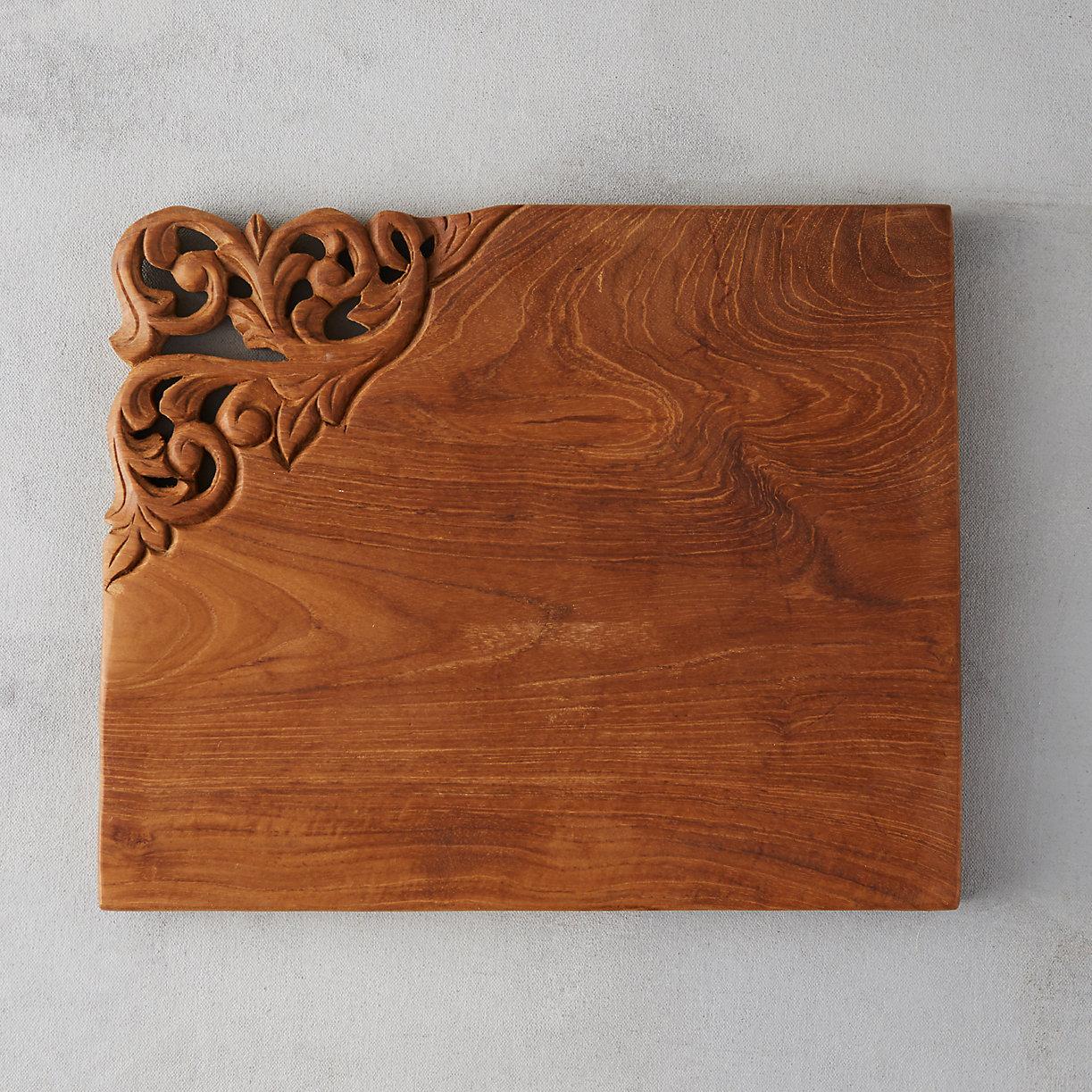 Carved Teak Serving Board Terrain