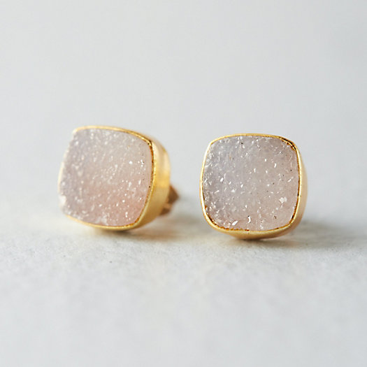 Druzy Square Stud Earrings