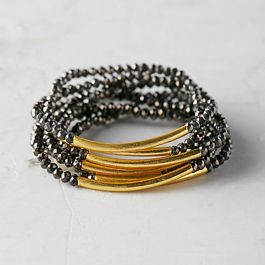 Gold & Glass Bracelets, Set of 7